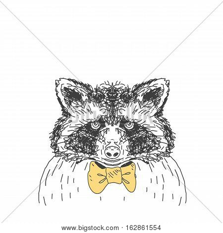 Vector wild forest illustration with ink drawn raccoon.