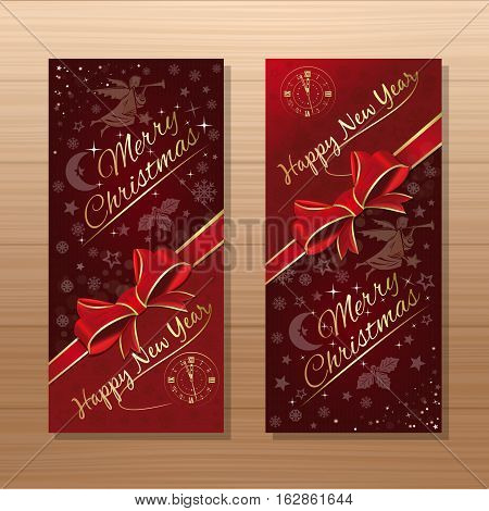 Christmas banner set. Merry Christmas and Happy New Year. Dark-red background with angel, antique clock and Christmas decorative elements on a wooden background. Vector gift card