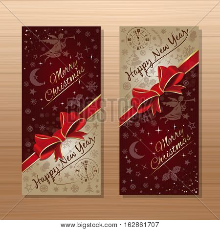 Christmas banner set. Merry Christmas and Happy New Year. Celebratory background with red ribbon and bow, Christmas angel, antique clock and Christmas decorative elements. Vector gift card