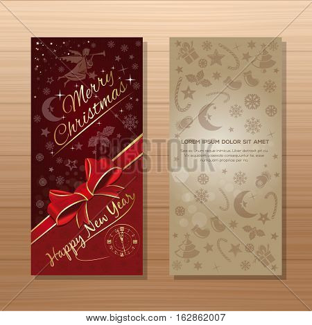 Christmas banner set. Merry Christmas and Happy New Year. Dark-red and beige background with Christmas angel, antique clock and Christmas decorative elements. Vector gift card