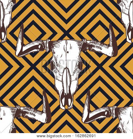 Vector Seamless Striped Pattern With Hand Drawn Buffalo Skulls. Tribal Grunge Ornament.