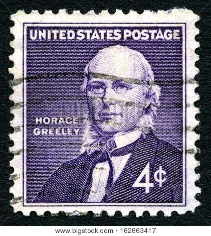 UNITED STATES OF AMERICA - CIRCA 1960: A used postage stamp from the USA depicting a portrait of former member of the U.S. House of Representatives Horace Greeley circa 1960.