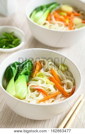 Vegetarian Asian rice noodle soup with bok choy carrots and spring onion photographed with natural light (Selective Focus Focus in the middle of the first soup)