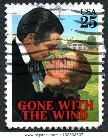 UNITED STATES OF AMERICA - CIRCA 1990: A used postage stamp from the USA showing an image from the classic movie Gone With The Wind circa 1990.