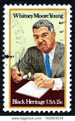 UNITED STATES OF AMERICA - CIRCA 1981: A used postage stamp from the USA depicting an illustration of famous civil rights leader Whitney Moore Young circa 1981.