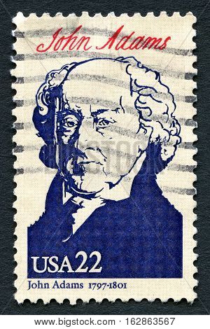 UNITED STATES OF AMERICA - CIRCA 1986: A used postage stamp from the USA depicting a portrait of 2nd President of the United States John Aadams circa 1968.