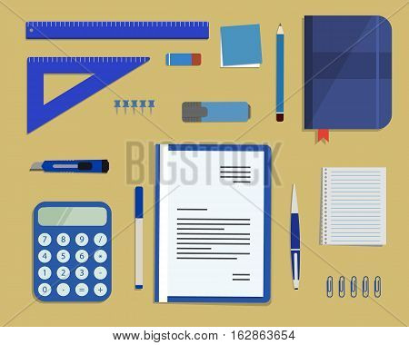 Blue stationery on a sandy background. Top view of a desk. There is a calculator, a folder, a diary, a ruler, a stationery knife, a marker and other objects in the picture. Vector flat illustration