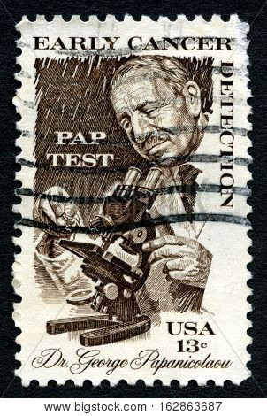 UNITED STATES OF AMERICA - CIRCA 1978: A used postage stamp from the USA depicting an illustration of Greek pioneer in cytopathology and early cancer detection Georgios Papanikolaou circa 1978.