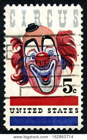 UNITED STATES OF AMERICA - CIRCA 1966: A used postage stamp from the USA celebrating the American Circus by depicting an illustration of a Clown circa 1966.