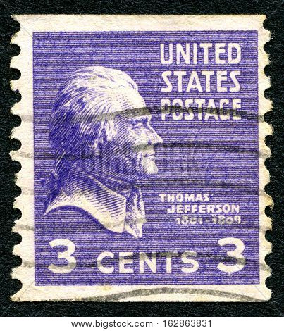 UNITED STATES OF AMERICA - CIRCA 1938: A used postage stamp from the USA depicting a portrait of founding father and former President of the United States Thomas Jefferson circa 1938.