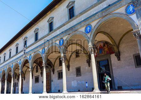 Loggia Dei Servi Di Maria On The Piazza Della Santissima Annunziata In Florence, Italy