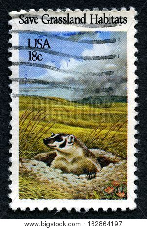 UNITED STATES OF AMERICA - CIRCA 1981: A used postage stamp from the USA promoting the protection of Grassland Habitats circa 1981.