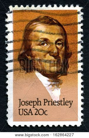 UNITED STATES OF AMERICA - CIRCA 1983: A used postage stamp from the USA depicting a portrait of Joseph Priestley - historic chemist circa 1983.