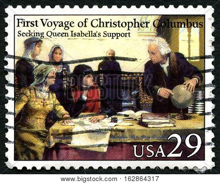 UNITED STATES OF AMERICA - CIRCA 1992: A used postage stamp from the USA depicting an illustration of the first voyage of Christopher Columbus circa 1992.