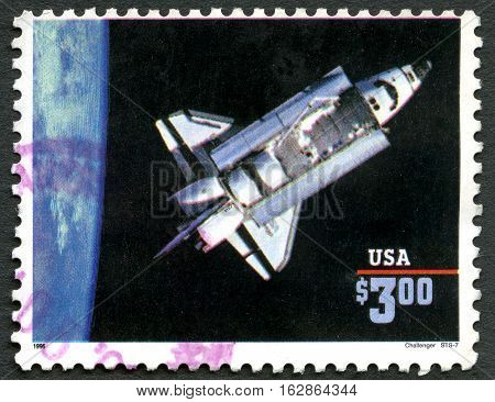 UNITED STATES OF AMERICA - CIRCA 1996: A used postage stamp from the USA depicting an image of Space Shuttle Challenger STS-7 circa 1996.