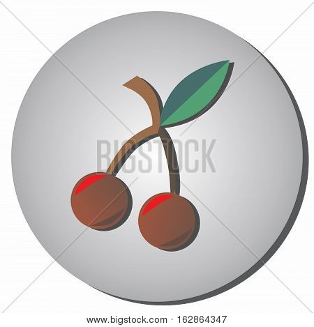 Icon cherries style flat on a gray background. Illustration of healthy food and beauty.