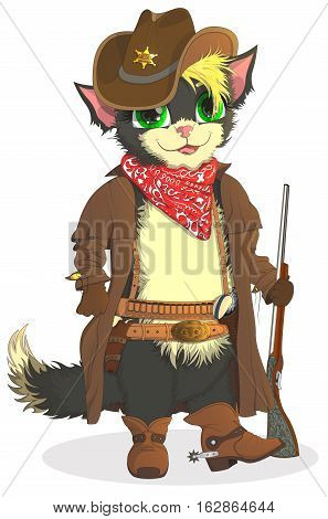 Cat cowboy. Sheriff Wild West, cartoon smile boots