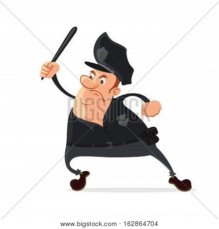 Angry policeman with a truncheon vector cartoon