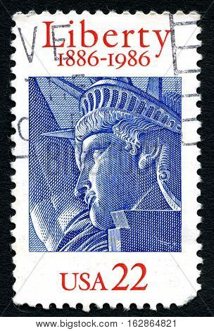 UNITED STATES OF AMERICA - CIRCA 1986: A used postage stamp from the USA depicting an illustration of the Statue of Liberty hence promoting Liberty and Freedom circa 1986.