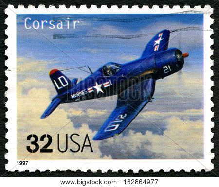 UNITED STATES OF AMERICA - CIRCA 1997: A used postage stamp from the USA depicting an illustration of a Vought F4U Corsair fighter aircraft circa 1997.