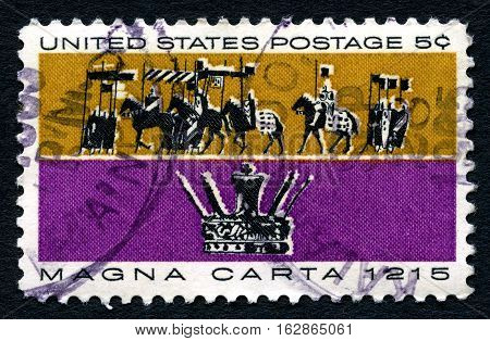 UNITED STATES OF AMERICA - CIRCA 1965: A used postage stamp from the USA commemorating the creation of the Magna Carta circa 1965.