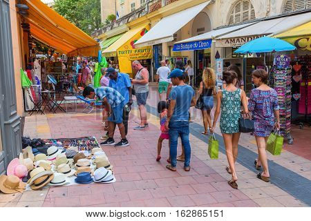 Shopping Street In Menton, South France