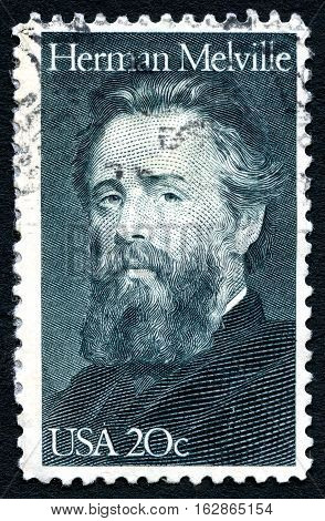 UNITED STATES OF AMERICA - CIRCA 1984: A used postage stamp from the USA depicting a portrait of famous American novelist Herman Melville circa 1984.
