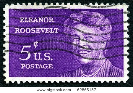 UNITED STATES OF AMERICA - CIRCA 1963: A used postage stamp from the USA depicting a portrait of former First Lady and American Politician Eleanor Roosevelt circa 1963.