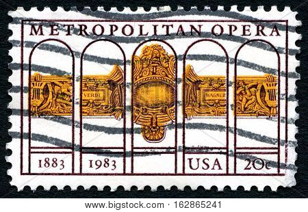 UNITED STATES OF AMERICA - CIRCA 1983: A used postage stamp from the USA depicting an illustration promoting the Metroplitan Opera company based in New York circa 1983.