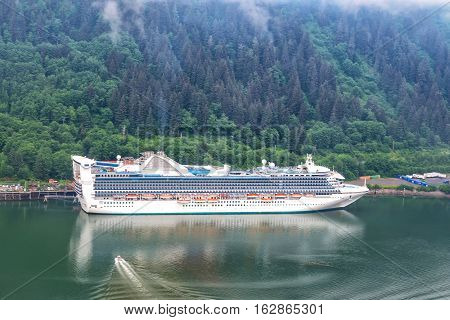 Aerial view of cruise ship at port in Juneau, Alaska