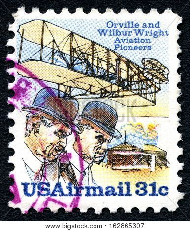 UNITED STATES OF AMERICA - CIRCA 1978: A used postage stamp from the USA depicting an illustration of Orville and Wilbur Wright - Aviation Pioneers circa 1978.