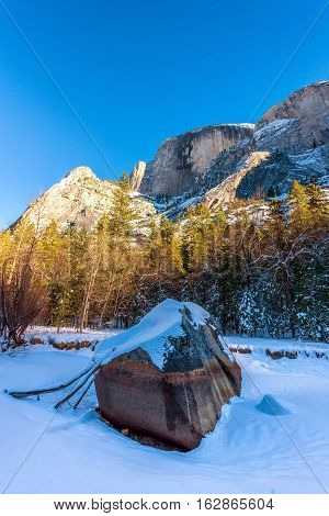 Mirror Lake in Yosemite National Park in the winter, with Half Dome in the far background