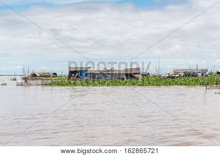One of many floating houses at Tonle Sap Lake in Cambodia, the largest lake in southeast Asia