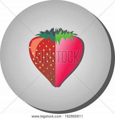 Icon with strawberries in the context of flat painted in the style of a gray background. Illustration of healthy food and beauty.