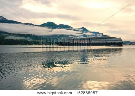 Cruise ship at port in Juneau Alaska