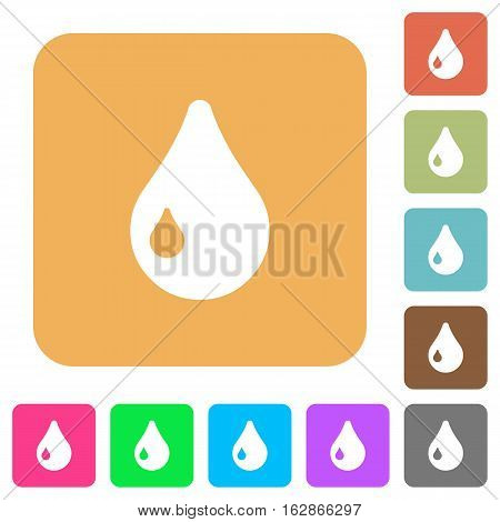 Drop icons on rounded square vivid color backgrounds.
