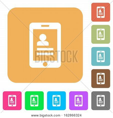 Mobile contacts icons on rounded square vivid color backgrounds.