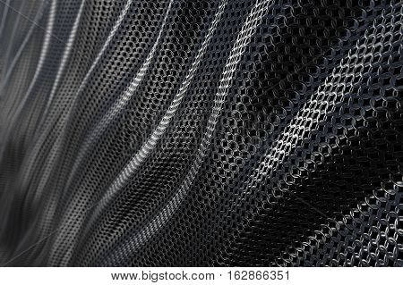 Dark metallic chain armor abstract soft curve background. 3D rendering