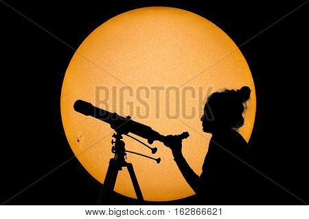 Silhouette Of A Woman With Telescope Safe Sun Observation