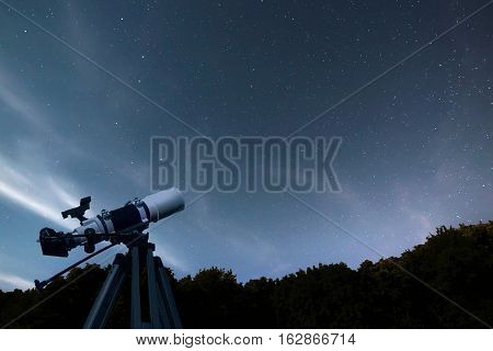 Astronomical Telescope Night Sky Constellation Ursa Major, Ursa Minor, Draco Starry Night, Dark Sky