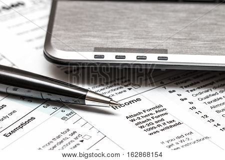 Us 1040 Tax Form With Pen