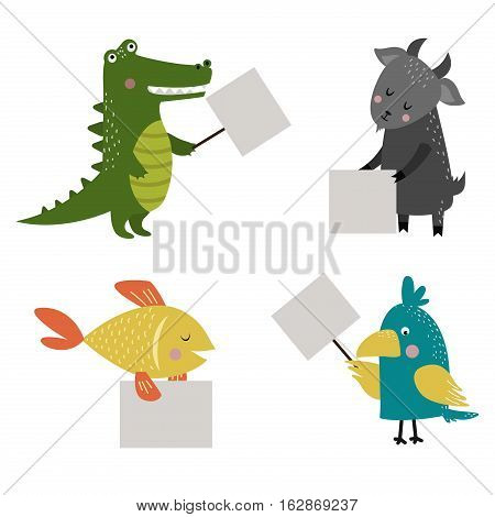Wild animal zoo strike with clean plate board vector cartoon set. Jungle mammal and pets silhouette saying message comment quotation poster information.