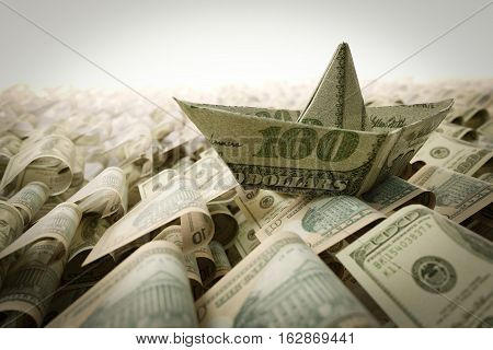 Ship from dollar paper in the money sea concept composition photo