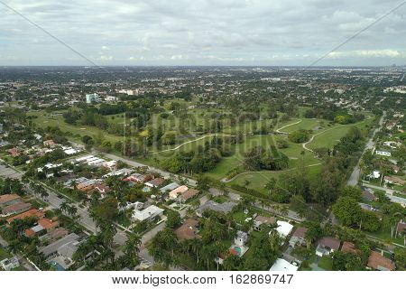 Aerial drone photo Hollywood Florida residential neighborhood, USA