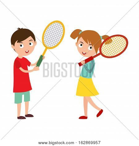 Sport tennis player with racket. Athletic health leisure. Good looking kid prepared for active game, action competition cartoon people vector. Play active lifestyle children.