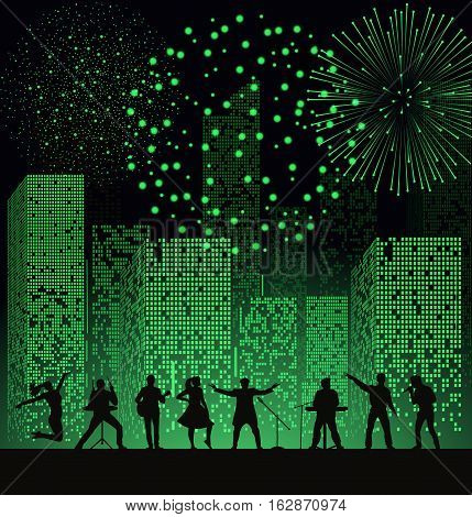 Band Show On Night City Background With Fireshow At Green Style. Festival Concept. Set Of Silhouette