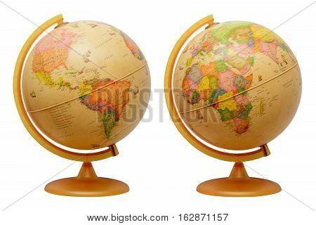 Earth Globe isolated, white background. Map of Earth.