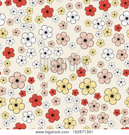 Seamless cartoon pattern with scattering of pink red yellow cherry or sakura flowers on pale background. Vector illustration