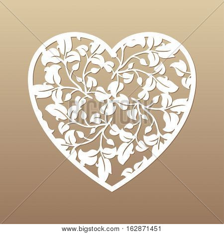 Openwork heart with leaves. Vector decorative element. Laser cutting template for greeting cards envelopes wedding invitations interior elements.