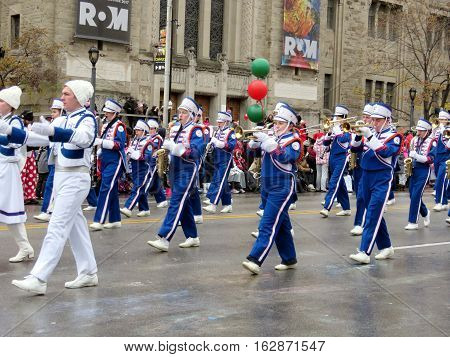 Toronto Canada - November 20 2016: Trumpeters and clarinetists on the Santa Claus Parade.